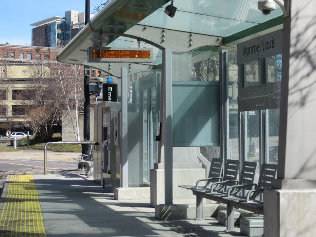 Rapid Silver Line Stop with Benches and Surveillance