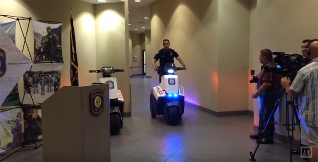 GRPD demonstrating a new segway for the news media.