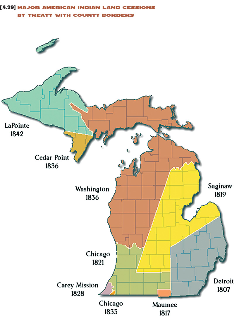 map of treaties in michigan