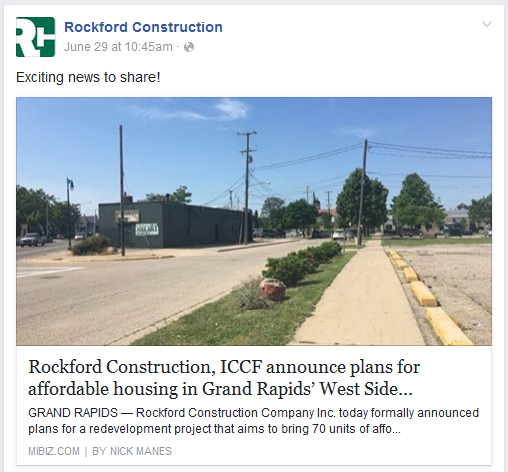 Rockford Construction Affordable Housing Facebook Post